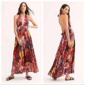 Free People Mika Maxi Dress Sunset Dreams Combo